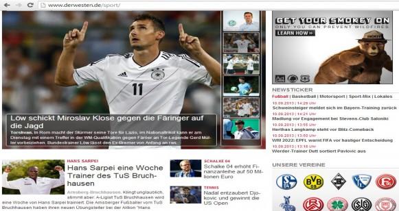 Webseite DerWesten.de die Sportseite um 15.00 Uhr