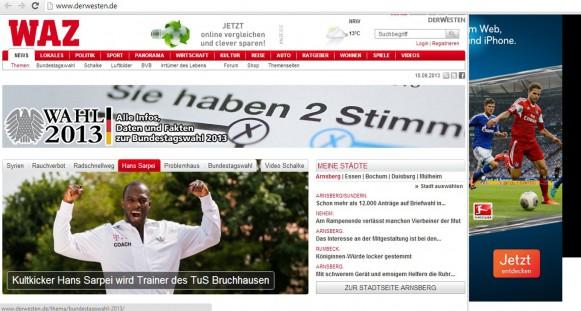Webseite DerWesten.de die Titelseite um 17.00 Uhr