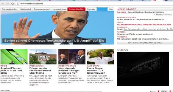 Webseite DerWesten.de die Titelseite um 20.00 Uhr