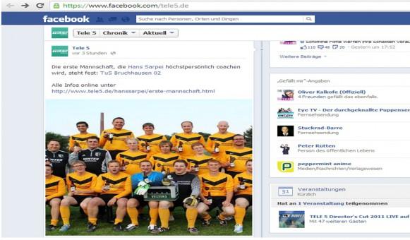 Facebookseite von TELE 5