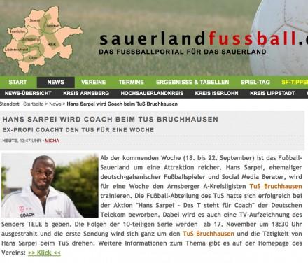 Webseite www.sauerlandfussball.de
