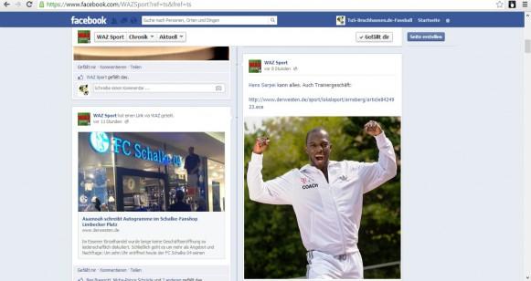 Facebookseite der WAZ Sportredaktion