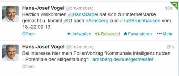 Der Bürgermeister der Stadt Arnsberg twittert