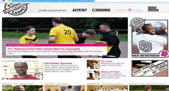 Webseite Telekom Fußball